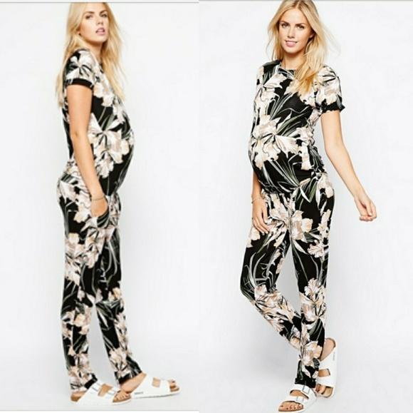 d689c52165e ASOS Maternity Pants - Asos Maternity Floral Vintage Print Jumpsuit